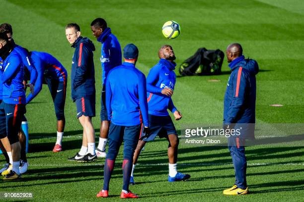Lassana Diarra of PSG during training session of Paris Saint Germain PSG at Camp des Loges on January 26 2018 in Paris France