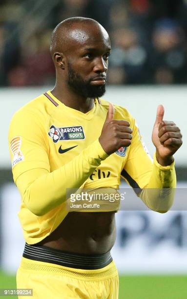 Lassana Diarra of PSG following the French League Cup match between Stade Rennais and Paris Saint Germain at Roazhon Park on January 30 2018 in...