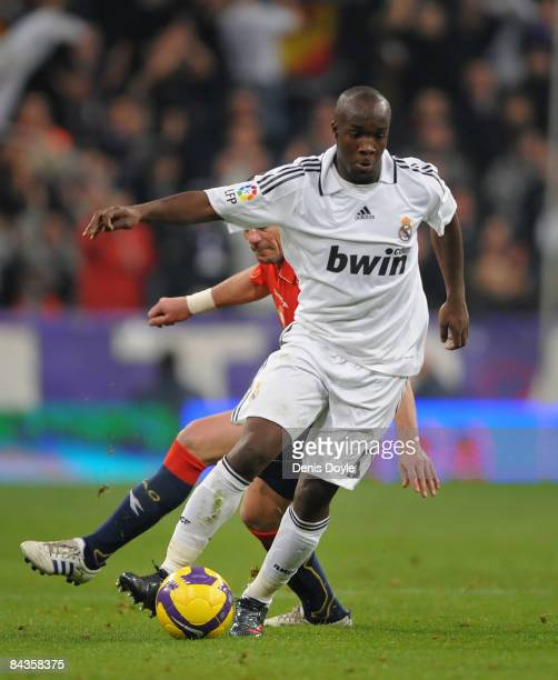 Lassana Diarra of Real Madrid during the La Liga match between Real Madrid and Osasuna on January 18 2009 in Madrid Spain