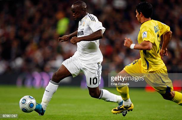 Lassana Diarra of Real Madrid in action during the Copa del Rey match between Real Madrid and AD Alcorcon at Estadio Santiago Bernabeu on November...