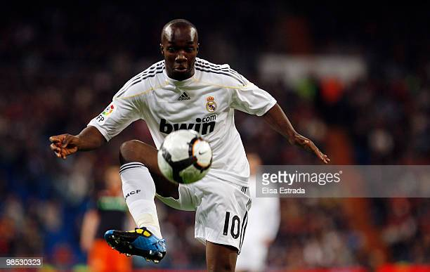 Lassana Diarra of Real Madrid in action during the La Liga match between Real Madrid and Valencia at Estadio Santiago Bernabeu on April 18 2010 in...