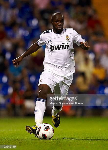 Lassana Diarra of Real Madrid runs with the ball during the preseason friendly soccer match between Hercules and Real Madrid at Jose Rico Perez...