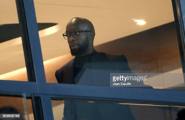 Lassana Diarra who officially signed yesterday for PSG attends the French National Cup match between Paris Saint Germain and En Avant Guingamp at...
