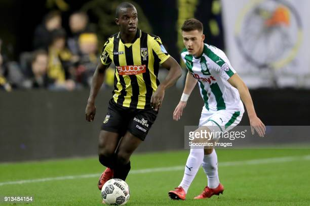 Lassana Faye of Vitesse Ajdin Hrustic of FC Groningen during the Dutch Eredivisie match between Vitesse v FC Groningen at the GelreDome on February 2...