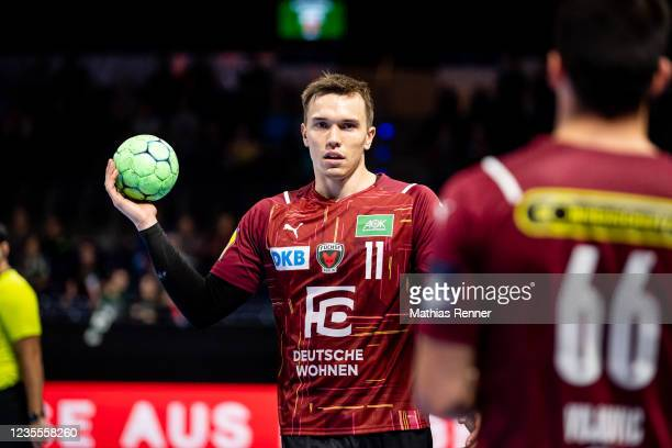 Lasse Bredekjaer Andersson of Fuechse Berlin during the EHF Handball European League match between Fuechse Berlin and KS Azoty-Pulawy at...
