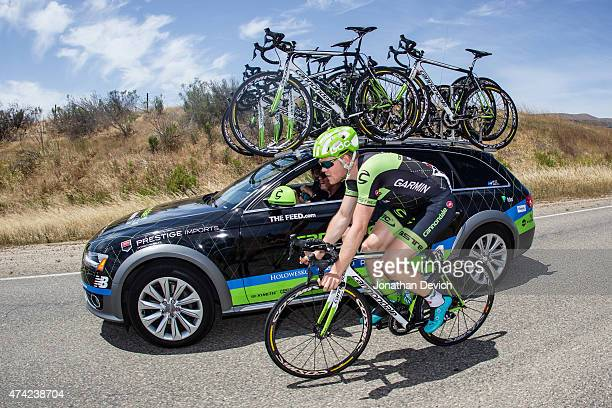 Lasse Hansen riding for the Cannondale-Garmin team drops back to talk at the team car during the Amgen Tour of California - Men's Race Stage 4 on May...