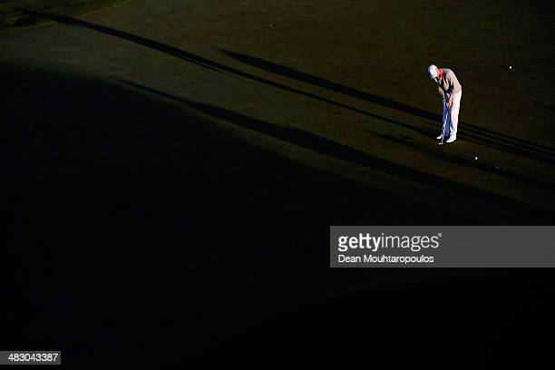 Lasse Jensen of Denmark practices on the putting green prior to the Final Round of the NH Collection Open held at La Reserva de Sotogrande Club de...