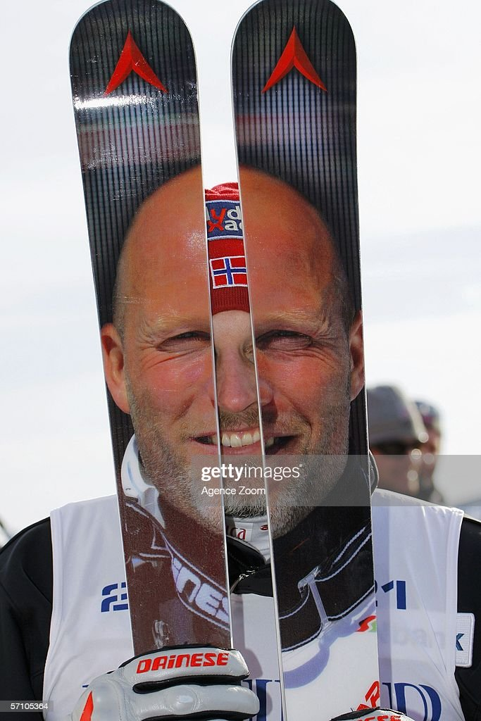 Lasse Kjus from Norway poses with his skis at the FIS Skiing World Cup Super-G - Men's Super-G on March 16, 2006 in Aare, Sweden.
