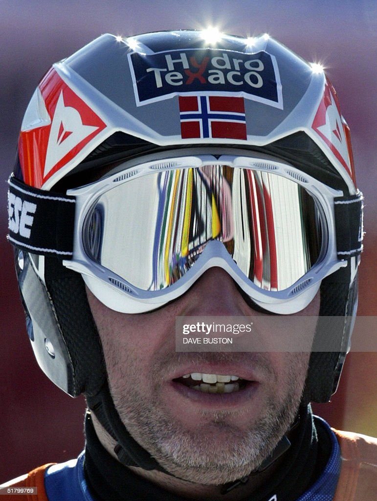 Lasse Kjus of Norway stand in the finish area after his run on the Men's Super-G course 28 November 2004 at the Lake Louise Ski Resort in Lake Louise, Canada. Kjus had a time of 1:29.74 in the event.