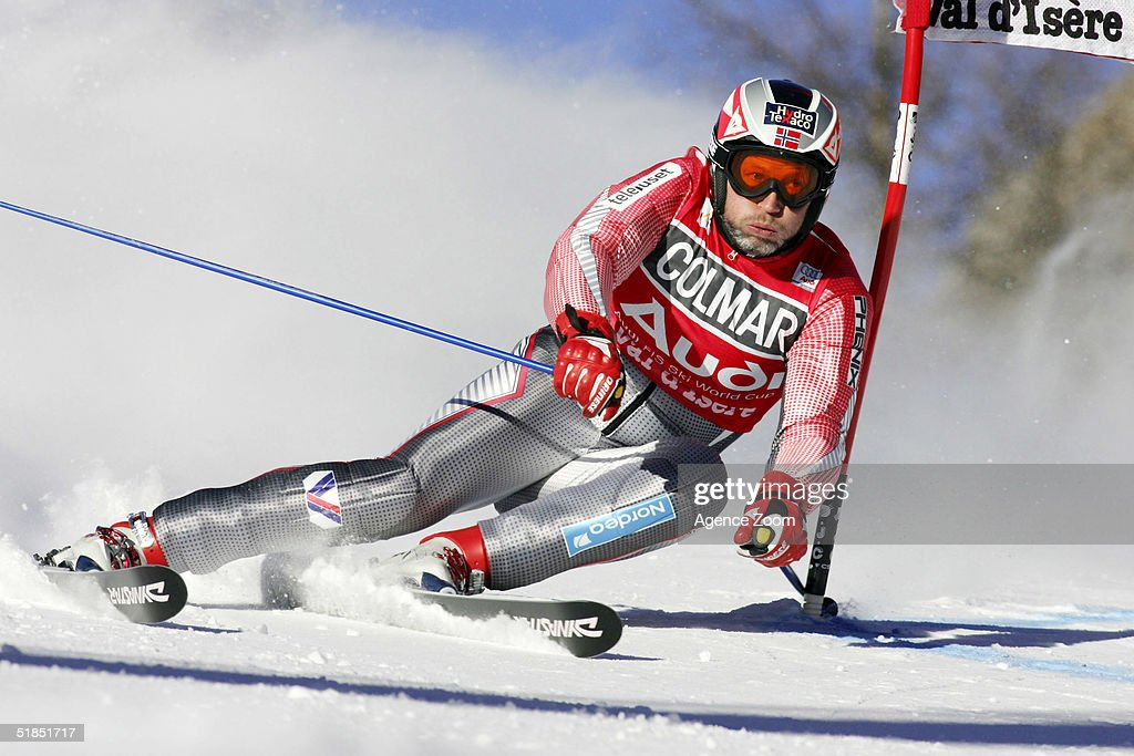 Lasse Kjuss of Norway in action during the FIS Ski World Cup 2005 Mens Super Giant Slalom Slalom event on December 12, 2004 in Val D'Isere, France.