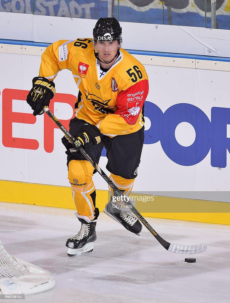 Lasse Lappalainen of SaiPa Lappeenranta handles the puck during the Champions Hockey League game between ERC Ingolstadt and SaiPa Lappeenranta on august 23, 2014 in Ingolstadt, Germany.