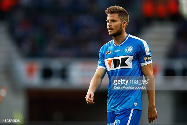 Lasse Nielsen of Gent looks on during the Jupiler League match between KAA Gent and KRC Genk held at the Ghelamco Arena on July 31 2015 in Gent...