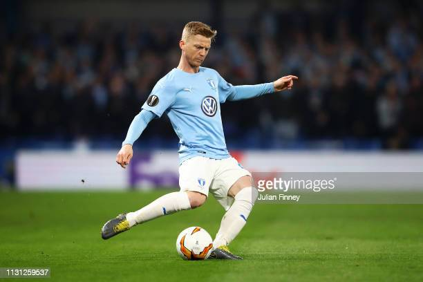 Lasse Nielsen of Malmo during the UEFA Europa League Round of 32 Second Leg match between Chelsea and Malmo FF at Stamford Bridge on February 21 2019...