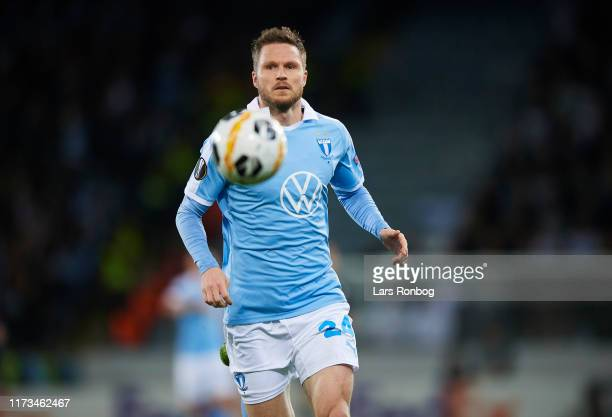 Lasse Nielsen of Malmo FF in action during the UEFA Europa League match between Malmo FF and FC Copenhagen at Stadion Malmo on October 3, 2019 in...