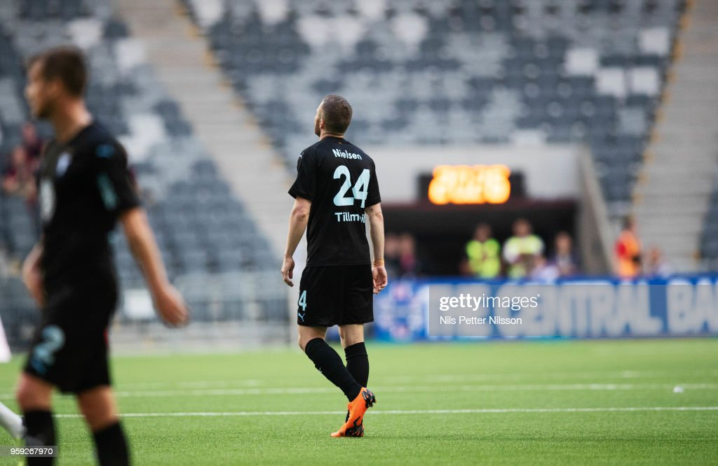 Lasse Nielsen of Malmo FF walks off the pitch after being shown a red card during the Allsvenskan match between Hammarby IF and Malmo FF at Tele2 Arena on May 16, 2018 in Stockholm, Sweden.