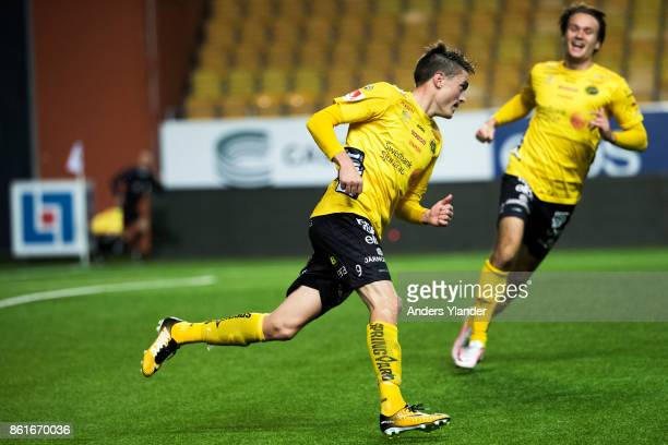 Lasse Nilsson of IF Elfsborg celebrates after scoring the decisive goal during the Allsvenskan match between IF Elfsborg and GIF Sundsvall at Boras...