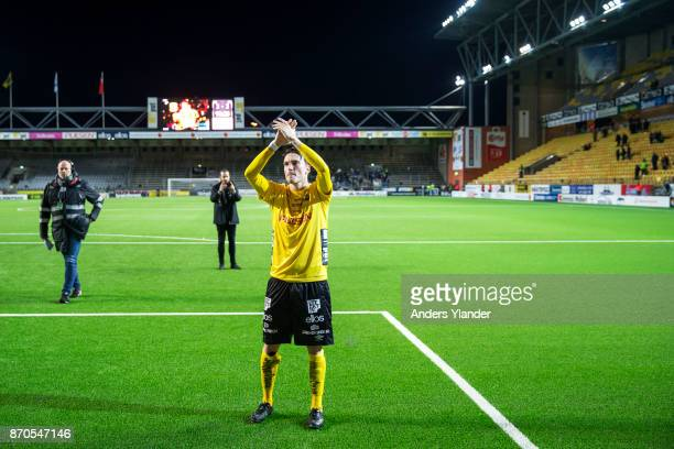 Lasse Nilsson of IF Elfsborg cheers to the fans after his last game for IF Elfsborg after the Allsvenskan match between IF Elfsborg and IFK...