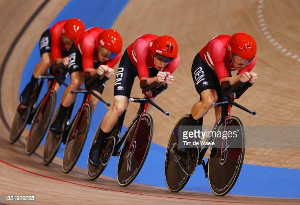 Lasse Norman Hansen, Niklas Larsen, Frederik Madsen and Rasmus Pedersen, of Team Denmark compete during the Men´s team pursuit qualifying of the...