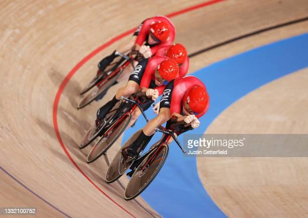 Lasse Norman Hansen, Niklas Larsen, Frederik Madsen and Rasmus Pedersen of Team Denmark compete during the Men´s team pursuit first round, heat 4 of...