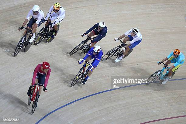 Lasse Norman Hansen of Denmark, Thomas Boudat of France, Roger Kluge of Germany lead the way in the Cycling Track Men's Omnium Points Race 6\6 on Day...