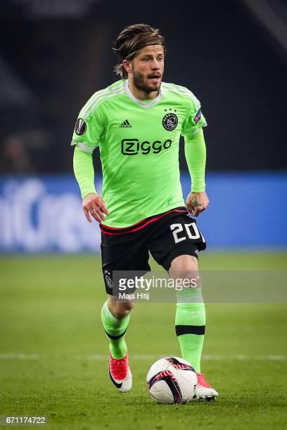 Lasse Schoene of Ajax controls the ball during the UEFA Europa League quarter final second leg match between FC Schalke 04 and Ajax Amsterdam at...