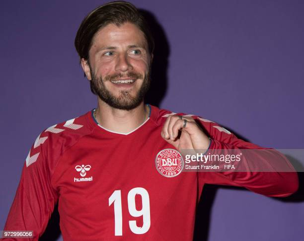 Lasse Schoene of Denmark poses for a picture during the official FIFA World Cup 2018 portrait session at on June 12 2018 in Anapa Russia