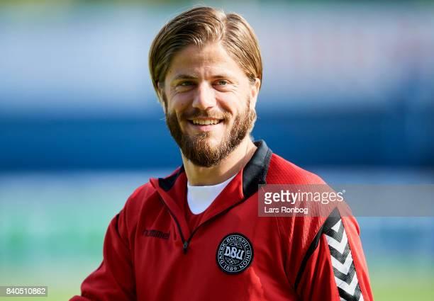 Lasse Schone looks on during the Denmark training session at Helsingor Stadion on August 29 2017 in Helsingor Denmark