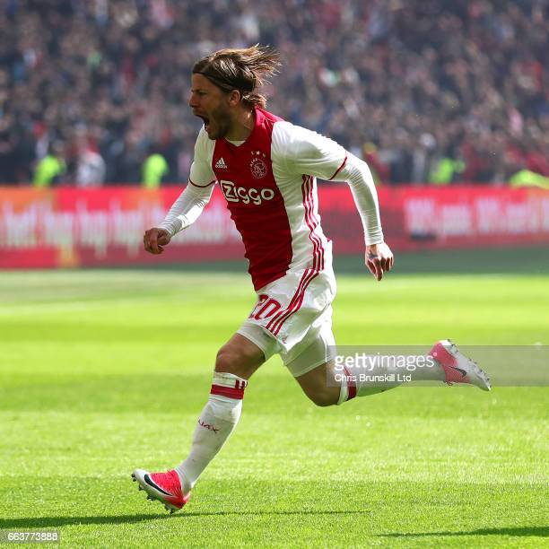 Lasse Schone of AFC Ajax celebrates scoring the opening goal during the Eredivisie match between AFC Ajax and Feyenoord at Amsterdam Arena on April 2...