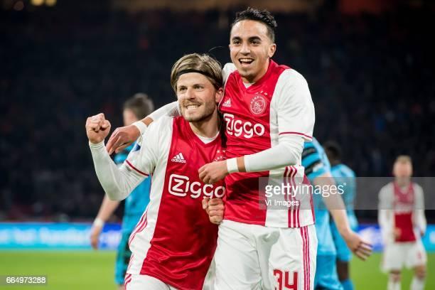 Lasse Schone of Ajax Abdelhak Nouri of Ajax 31during the Dutch Eredivisie match between Ajax Amsterdam and AZ Alkmaar at the Amsterdam Arena on April...