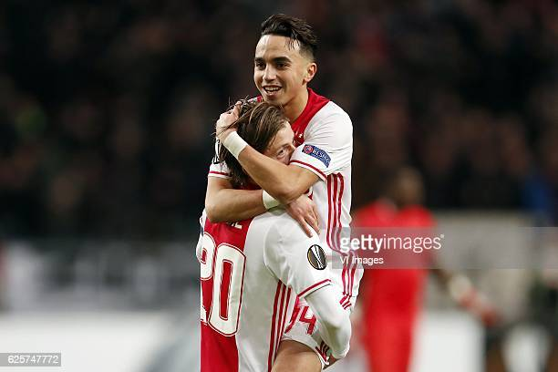 Lasse Schone of Ajax Abdelhak Nouri of Ajaxduring the UEFA Europa League group G match between Ajax Amsterdam and Panathinaikos FC at the Amsterdam...