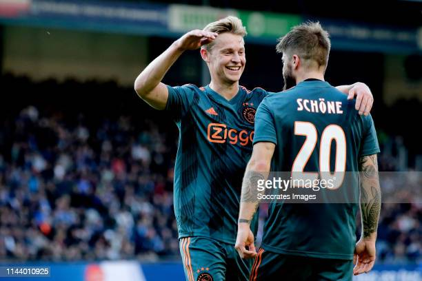 Lasse Schone of Ajax celebrates 01 with Frenkie de Jong of Ajax during the Dutch Eredivisie match between De Graafschap v Ajax at the De Vijverberg...