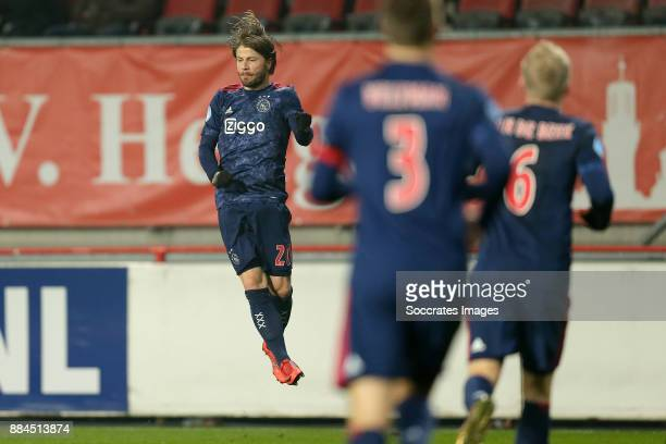 Lasse Schone of Ajax celebrates 0-2 during the Dutch Eredivisie match between Fc Twente v Ajax at the De Grolsch Veste on December 2, 2017 in...