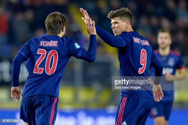 Lasse Schone of Ajax celebrates 06 with Klaas Jan Huntelaar of Ajax during the Dutch Eredivisie match between NAC Breda v Ajax at the Rat Verlegh...