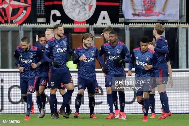 Lasse Schone of Ajax celebrates 12 with Hakim Ziyech of Ajax Justin Kluivert of Ajax Donny van de Beek of Ajax Mitchell Dijks of Ajax Klaas Jan...