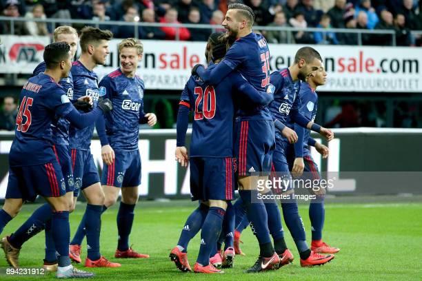 Lasse Schone of Ajax celebrates 12 with Justin Kluivert of Ajax Donny van de Beek of Ajax Klaas Jan Huntelaar of Ajax Frenkie de Jong of Ajax...
