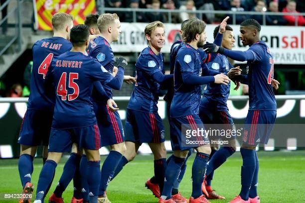 Lasse Schone of Ajax celebrates 12 with Matthijs de Ligt of Ajax Justin Kluivert of Ajax Donny van de Beek of Ajax Frenkie de Jong of Ajax David...