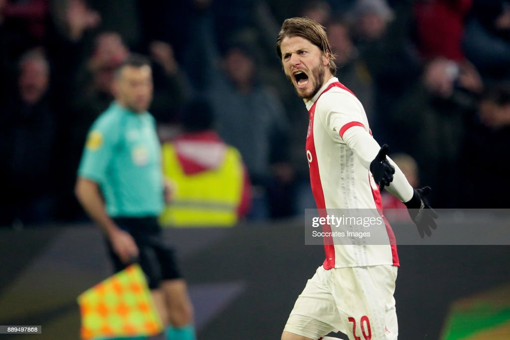 Lasse Schone of Ajax celebrates 2-0 during the Dutch Eredivisie match between Ajax v PSV at the Johan Cruijff Arena on December 10, 2017 in Amsterdam Netherlands