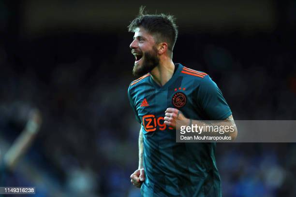 Lasse Schone of Ajax celebrates after scoring his team's first goal during the Eredivisie match between De Graafschap and Ajax at Stadion De...