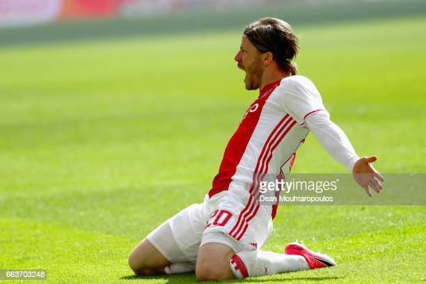 Lasse Schone of Ajax celebrates scoring his teams first goal of the game during the Dutch Eredivisie match between Ajax Amsterdam and Feyenoord at...