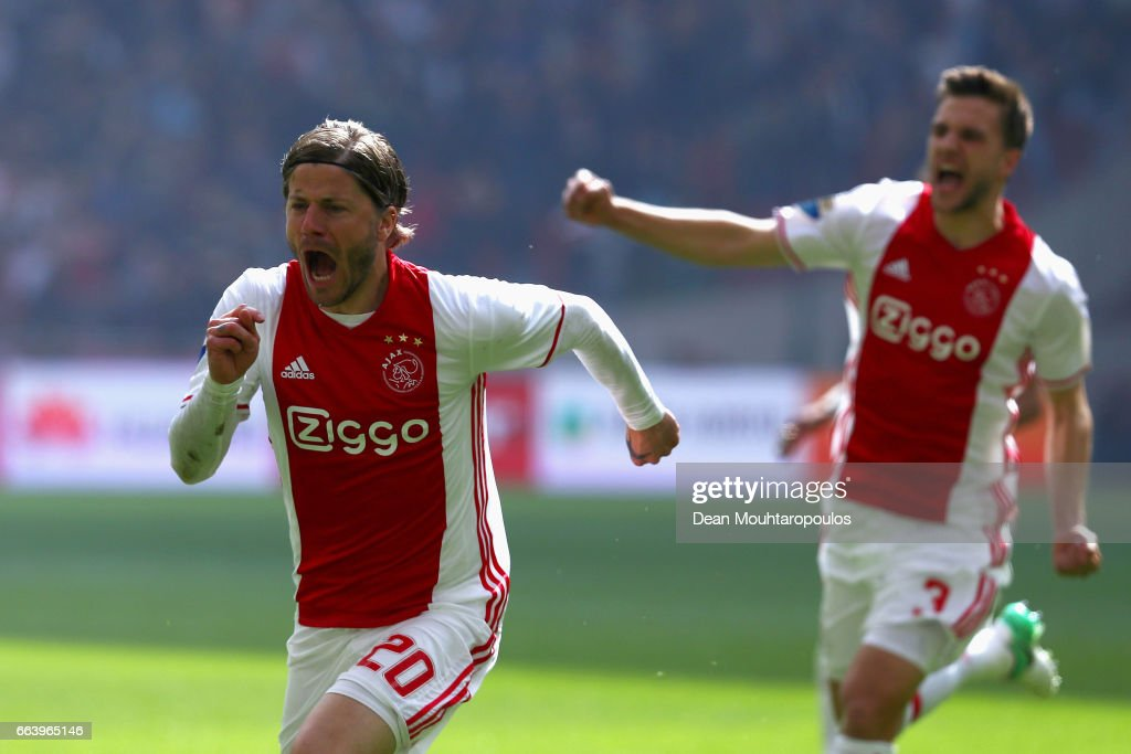 Lasse Schone of Ajax celebrates scoring his teams first goal of the game during the Dutch Eredivisie match between Ajax Amsterdam and Feyenoord at Amsterdam ArenA on April 2, 2017 in Amsterdam, Netherlands.