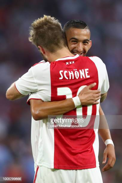 Lasse Schone of Ajax celebrates with Hakim Ziyech of Ajax after scoring his team's second goal during the first leg UEFA Champions League Qualifier...