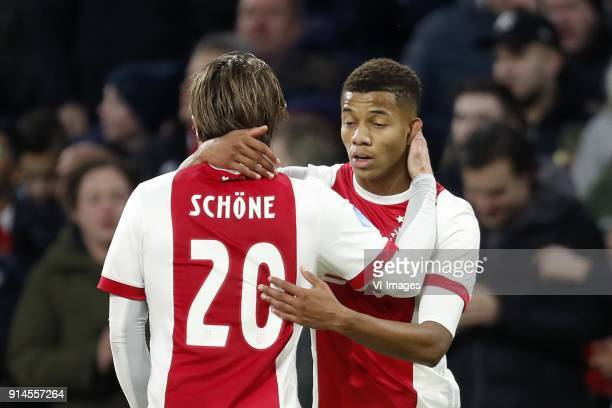 Lasse Schone of Ajax David Neres of Ajax during the Dutch Eredivisie match between Ajax Amsterdam and NAC Breda at the Amsterdam Arena on February 04...