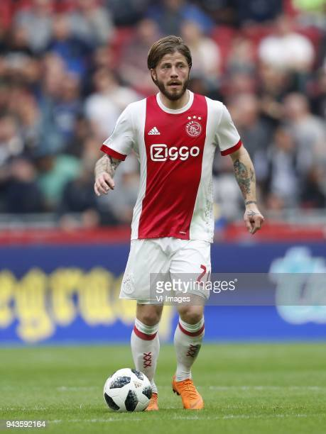 Lasse Schone of Ajax during the Dutch Eredivisie match between Ajax Amsterdam and Heracles Almelo at the Amsterdam Arena on April 08 2018 in...