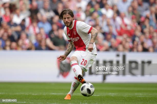 Lasse Schone of Ajax during the Dutch Eredivisie match between Ajax v Heracles Almelo at the Johan Cruijff Arena on April 8 2018 in Amsterdam...