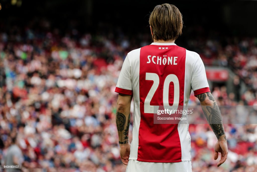 Lasse Schone of Ajax during the Dutch Eredivisie match between Ajax v Heracles Almelo at the Johan Cruijff Arena on April 8, 2018 in Amsterdam Netherlands