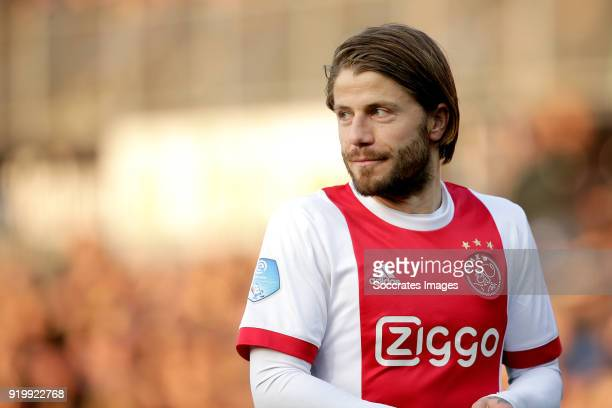 Lasse Schone of Ajax during the Dutch Eredivisie match between PEC Zwolle v Ajax at the MAC3PARK Stadium on February 18 2018 in Zwolle Netherlands