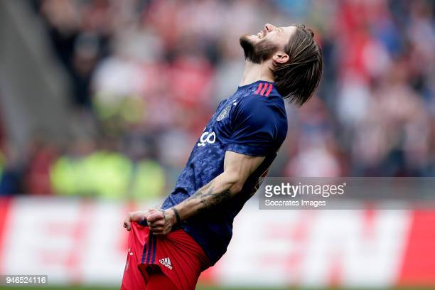 Lasse Schone of Ajax during the Dutch Eredivisie match between PSV v Ajax at the Philips Stadium on April 15 2018 in Eindhoven Netherlands