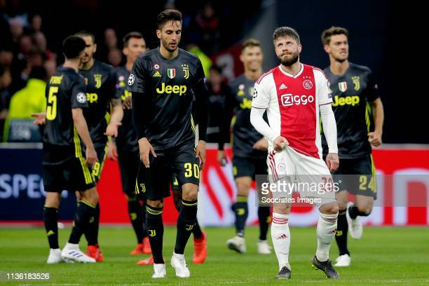 Lasse Schone of Ajax during the UEFA Champions League match between Ajax v Juventus at the Johan Cruijff Arena on April 10 2019 in Amsterdam...