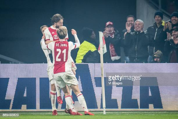 Lasse Schone of Ajax Frenkie de Jong of Ajax 20 during the Dutch Eredivisie match between Ajax Amsterdam and PSV Eindhoven at the Amsterdam Arena on...