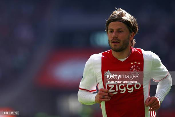 Lasse Schone of Ajax in action during the Dutch Eredivisie match between Ajax Amsterdam and Feyenoord at Amsterdam ArenA on April 2 2017 in Amsterdam...
